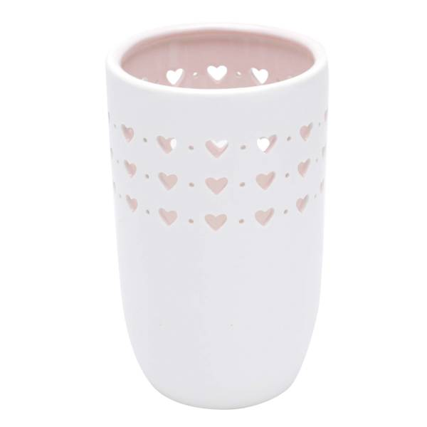 VASO PORCELANA HEARTS AND DOTS BRANCO | ROSA