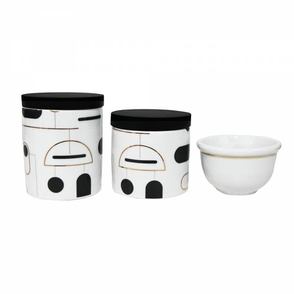 KIT HIGIENE PORCELANA ART DECO PRETO